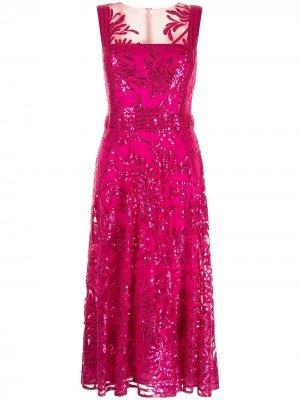 Расклешенное платье миди Aimi Tadashi Shoji. Цвет: розовый