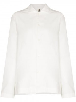 Фланелевая пижамная рубашка TEKLA. Цвет: белый