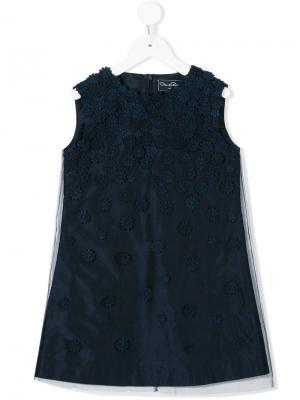 Платье А-силуэта с цветочным принтом Oscar De La Renta Kids. Цвет: синий