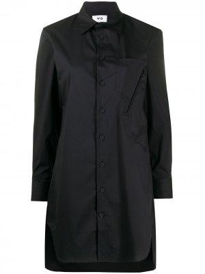Длинная рубашка Yohji Yamamoto Y-3. Цвет: черный