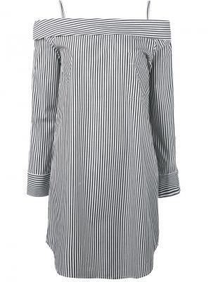 Полосатое мини-платье с открытыми плечами Robert Rodriguez. Цвет: белый