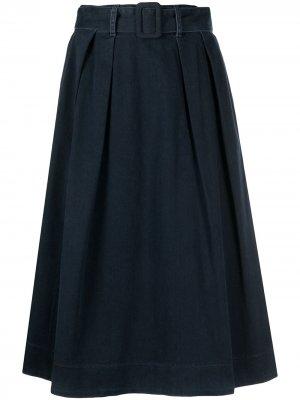 Джинсовая юбка с завышенной талией и поясом Tommy Hilfiger. Цвет: синий