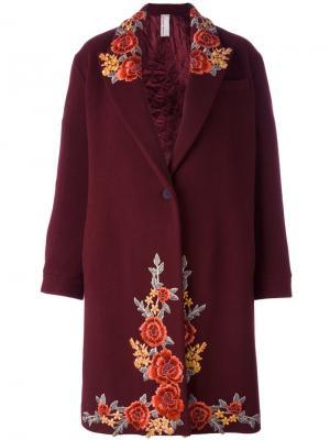 Однобортное пальто с вышивкой Antonio Marras. Цвет: красный