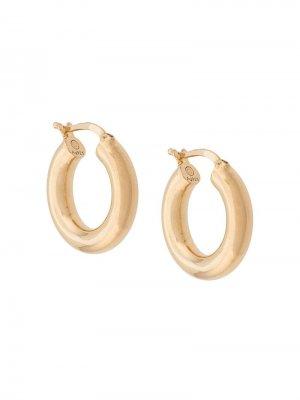 Круглые серьги Bottega Veneta. Цвет: золотистый