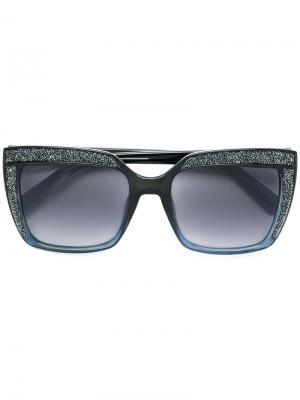 Большие солнцезащитные очки с кристаллами Swarovski Eyewear. Цвет: синий
