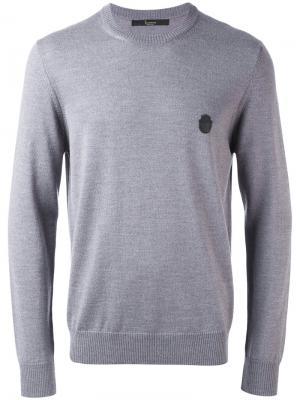 Джемпер с заплаткой-логотипом Billionaire. Цвет: серый