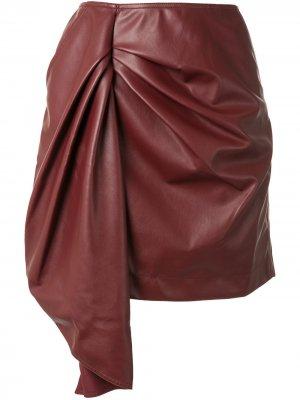 Короткая юбка из искусственной кожи Self-Portrait. Цвет: красный