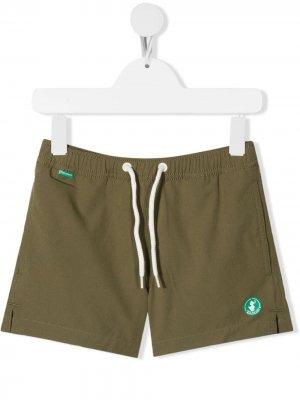 Плавки-шорты с кулиской Save The Duck Kids. Цвет: зеленый