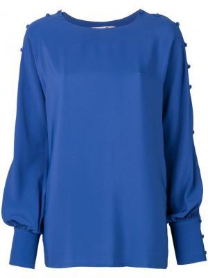Button sleeve blouse Ki6. Цвет: синий
