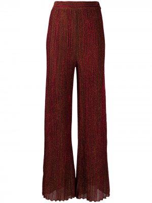 Плиссированные брюки с эффектом металлик M Missoni. Цвет: оранжевый