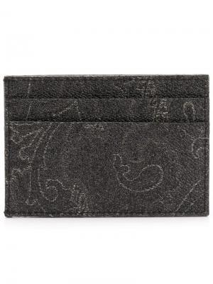 Футляр для карт с принтом пейсли Etro. Цвет: черный