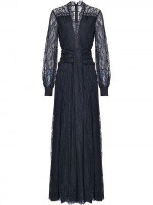 Платье с кружевом и прозрачными рукавами Pinko. Цвет: черный