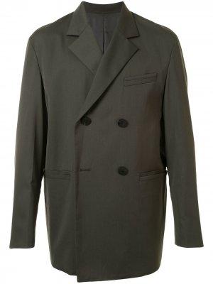 Двубортный пиджак свободного кроя Wooyoungmi. Цвет: зеленый