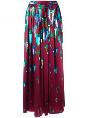 Crystal diamond print pleated long skirt Tsumori Chisato. Цвет: розовый