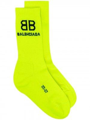 Носки в рубчик вязки интарсия Balenciaga. Цвет: желтый