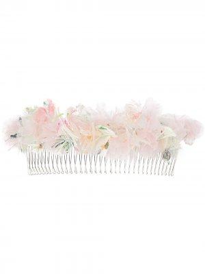 Гребень для волос Pinta с аппликацией Maison Michel. Цвет: розовый