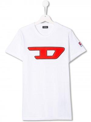 Футболка с логотипом Diesel Kids. Цвет: белый