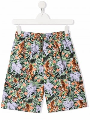 Плавки-шорты с принтом Kenzo Kids. Цвет: зеленый