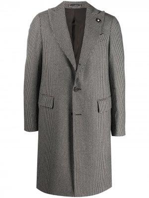 Однобортное пальто в клетку Lardini. Цвет: коричневый