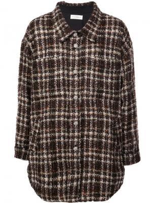Трикотажная рубашка в стиле оверсайз Faith Connexion. Цвет: коричневый