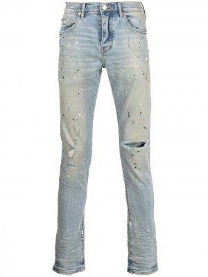 Прямые джинсы с эффектом разбрызганной краски Purple Brand. Цвет: синий