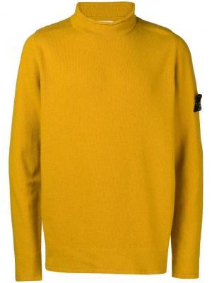 Rolled edge turtleneck sweater Stone Island. Цвет: желтый