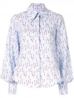 Рубашка с заостренным воротником и вышивкой Erdem. Цвет: синий