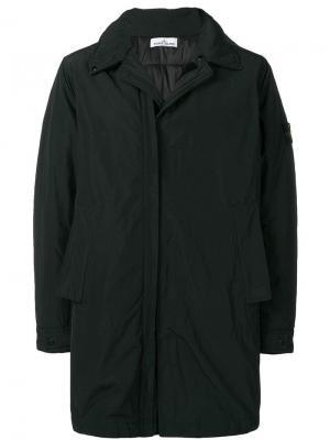 Пальто с капюшоном на липучках Stone Island. Цвет: черный