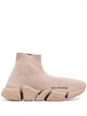 Кроссовки-носки Speed с логотипом Balenciaga. Цвет: коричневый