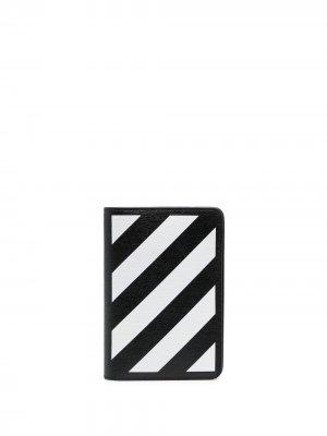 Обложка для паспорта с диагональными полосками Off-White. Цвет: черный
