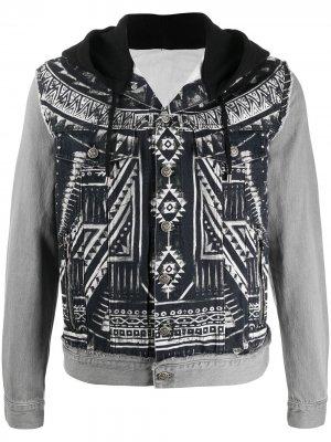 Джинсовая куртка с абстрактным принтом Balmain. Цвет: черный