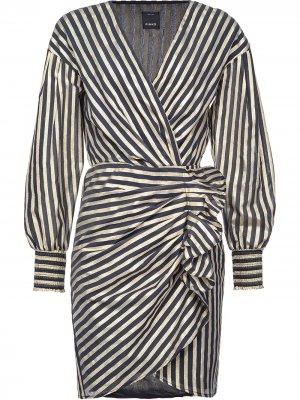 Платье в полоску с оборками Pinko. Цвет: черный