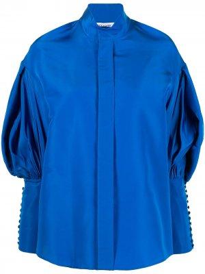 Рубашка с высоким воротником и объемными рукавами Dice Kayek. Цвет: синий