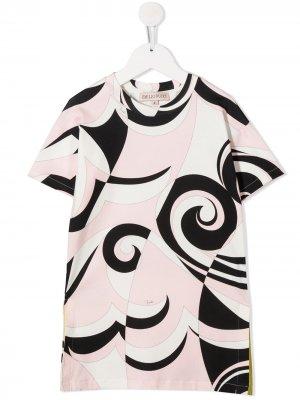 Шорты с абстрактным принтом и короткими рукавами Emilio Pucci Junior. Цвет: розовый