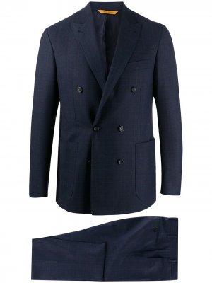 Костюм с двубортным пиджаком Canali. Цвет: синий