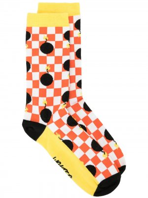 Носки в шахматную клетку Walter Van Beirendonck. Цвет: белый