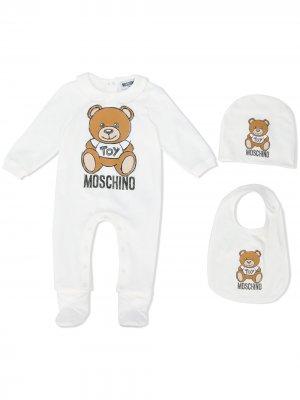 Комплект для новорожденного с принтом Teddy Bear Moschino Kids. Цвет: белый