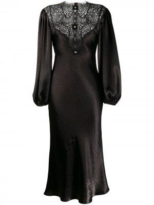 Платье миди с кружевными вставками Christopher Kane. Цвет: черный