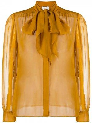 Полупрозрачная блузка с бантом Saint Laurent. Цвет: желтый