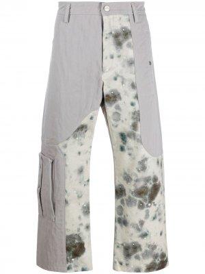Укороченные джинсы с принтом тай-дай Diesel Red Tag. Цвет: серый