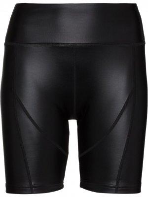 Облегающие шорты из искусственной кожи Danielle Guizio. Цвет: черный