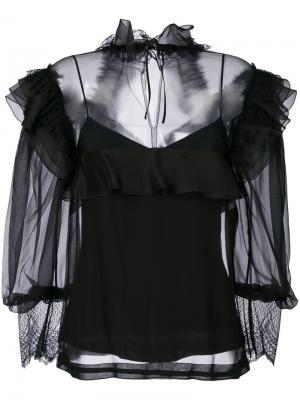 Блузка с оторочкой из рюшей Alberta Ferretti. Цвет: черный