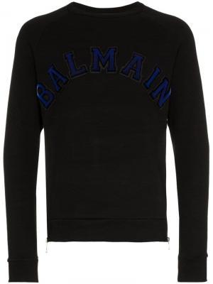 Толстовка на молниях с аппликацией логотипа Balmain. Цвет: черный