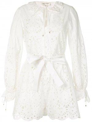 Платье-рубашка с поясом и оборками Zuhair Murad. Цвет: белый