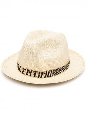 Соломенная шляпа с логотипом Valentino. Цвет: нейтральные цвета