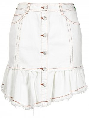 Джинсовая юбка мини с бахромой SJYP. Цвет: белый