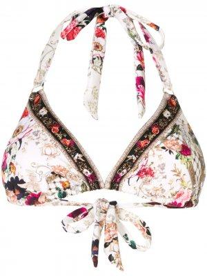 Лиф бикини с вырезом халтер и цветочным принтом Camilla. Цвет: белый
