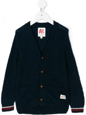 Вязаный кардиган на пуговицах American Outfitters Kids. Цвет: синий