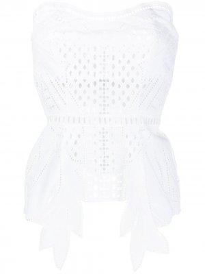 Топ-бюстье с английской вышивкой Alberta Ferretti. Цвет: белый