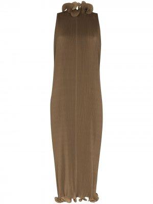 Плиссированное платье без рукавов Tibi. Цвет: зеленый